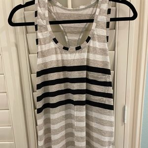 Lululemon tank top tan/gray, white, & black stripe